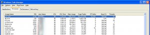 Screen capture of Windows task manager, showing Norton running ~53,000 page faults / second.
