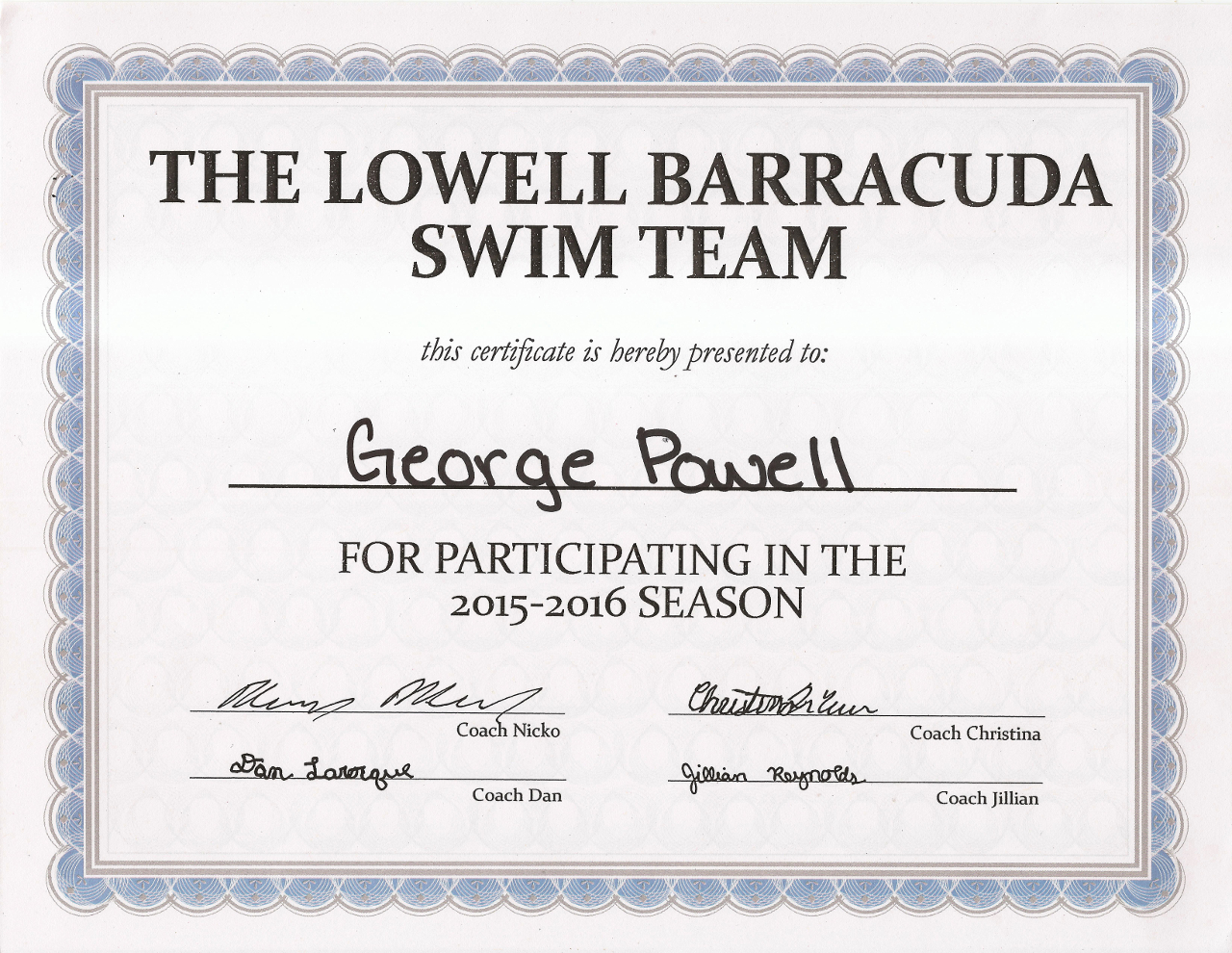 George Swim Team 2015-2016