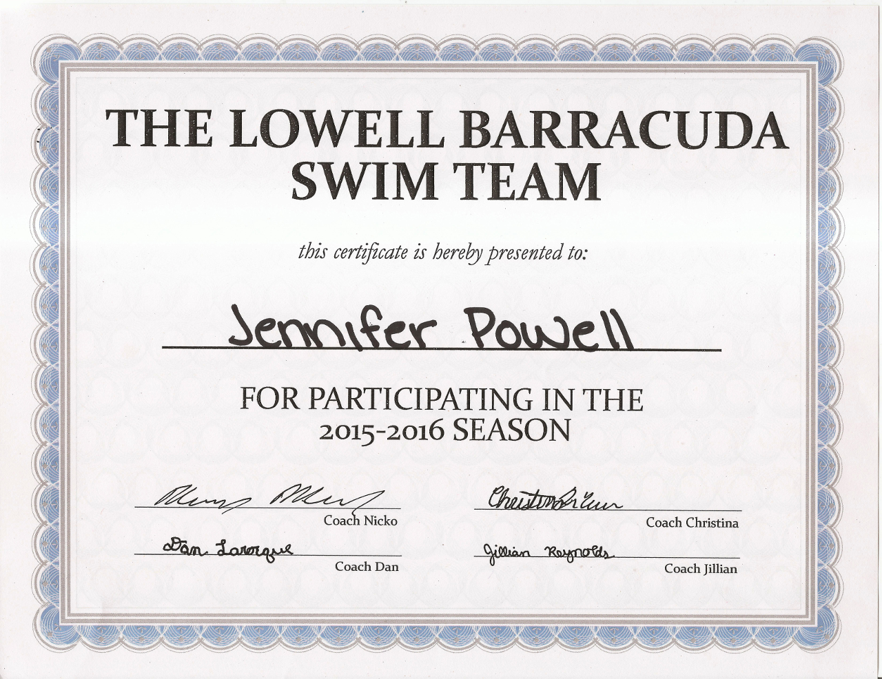 Jennifer Swim Team 2015-2016